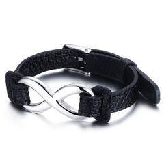 Leder-Armband Damen Endless Unentlichkeit Infinity Rindsleder schwarz Edelstahl Autiga®