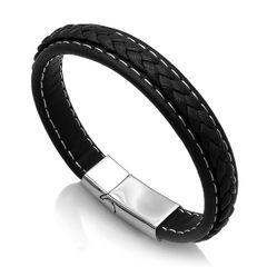 Edles Leder-Armband für Herren, breit mit Rindsleder und geflochtener Oberfläche Autiga®