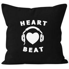 Kissenbezug Heart Beat Herz Kopfhörer Musik Techno Kapuzen-Pullover MoonWorks®