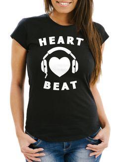 Damen T-Shirt Heart Beat Herz Kopfhörer Musik Techno Slim Fit Moonworks®