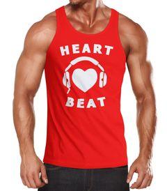 Herren Tanktop Heart Beat Herz Kopfhörer Musik Techno Muscle Shirt Moonworks®