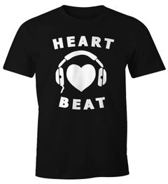 Herren T-Shirt Heart Beat Musik Bass Techno Elektro Shirt Moonworks®
