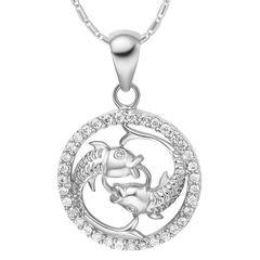 Sternzeichenkette Fische Damen Halskette Sternzeichen Anhänger Zirkonias vergoldet Autiga®