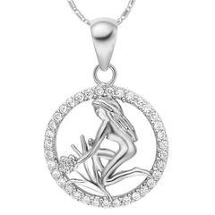 Sternzeichenkette Jungfrau Damen Halskette Sternzeichen Anhänger Zirkonias vergoldet Autiga®