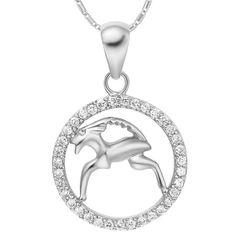 Sternzeichenkette SteinbockDamen Halskette Sternzeichen Anhänger Zirkonias vergoldet Autiga®