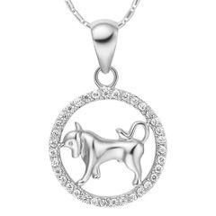 Sternzeichenkette Stier Damen Halskette Sternzeichen Anhänger Zirkonias vergoldet Autiga®