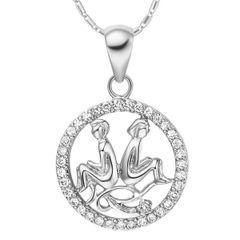 Sternzeichenkette Zwillinge Damen Halskette Sternzeichen Anhänger Zirkonias vergoldet Autiga®