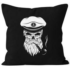 Kissenbezug Totenkopf Kapitän Captain Skull Bard Hipster Seemann 40x40 Autiga®