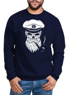 Herren Sweatshirt Totenkopf Kapitän Captain Skull Bard Hipster Seemann Pullover Neverless®
