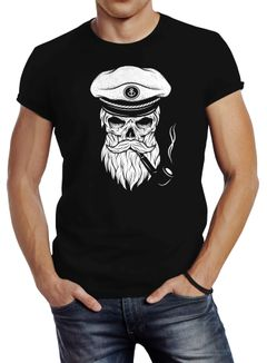 Herren T-Shirt Totenkopf Kapitän Captain Skull Hipster Slim Fit Neverless®