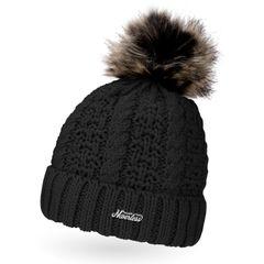 Damen Strick-Mütze gefüttert Fell-Bommel Kunstfell Winter-Mütze Bommelmütze Neverless®
