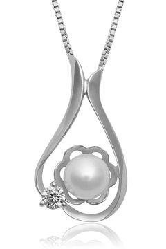 Halskette 925 Sterling Silber Damen Anhänger Perle Zirkonia Kristall Blume Flügel Herz