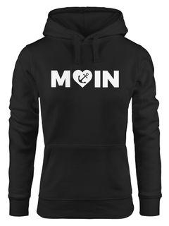 Cooler Kapuzen-Pullover Damen Moin Love Herz mit Anker Nordsee Hoodie Moonworks®