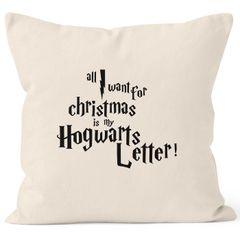 Kissenbezug All I want for Christmas is my Hogwarts Weihnachten letter Kissen-Hülle Deko-Kissen 40x40  Baumwolle MoonWorks®