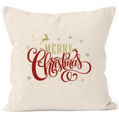 Kissenbezug Merry Christmas Weihnachten Geschenk Kissen-Hülle Deko-Kissen 40x40  Baumwolle MoonWorks®