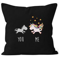 Kissenbezug You and Me Einhorn Unicorn Deko-Kissen 40x40 Baumwolle MoonWorks®