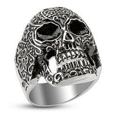 Totenkopf Ring Herren Edelstahl Biker Skull Gothic Punk Tribal Massiv Rocker