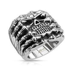 Totenkopf Ring Herren Edelstahl Biker Skull Skelett Klauen Gothic Punk Massiv Rocker Knochen Hand Finger