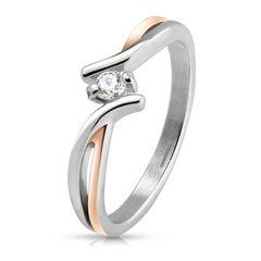 Edelstahl Ring Damen Solitärring Verlobungsring Zirkonia Kristall Zweifarbig Silber Rosegold