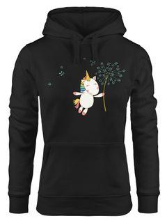 Kapuzen-Pullover Damen Einhorn mit Pusteblume Unicorn with Dandelion Hoodie Moonworks®