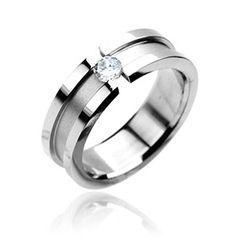 Ring Edelstahl Damen Herren Spannring Zirkonia Kristall Partnerring Ehering Verlobungsring