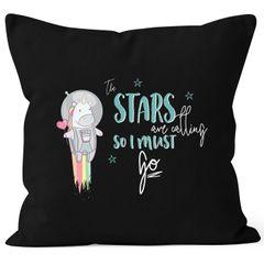 Kissenbezug Astronaut Einhorn Unicorn the stars are calling and i must go 40x40 Baumwolle MoonWorks®