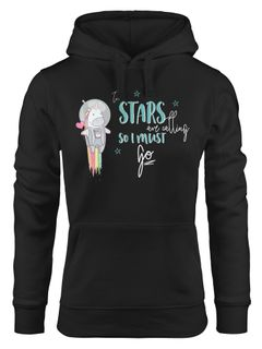 Damen Hoodie Astronaut Einhorn Unicorn the stars are calling and i must go Spruch Moonworks®