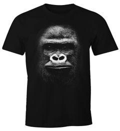 Herren T-Shirt 3D Gorilla Gorillakopf Fun-Shirt Moonworks®