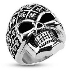 Totenkopf Ring Herren Edelstahl Biker Skull Helm Ring Gothic Massiv Fleur de Lis