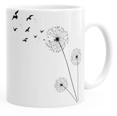 Kaffee-Tasse Pusteblume Birds Dandelion Vögel glänzend Teetasse Keramiktasse Autiga®