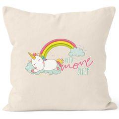 Kissenbezug schlafendes Einhorn auf Wolke need more sleep sleeping Unicorn Spruch 40x40  Baumwolle MoonWorks®
