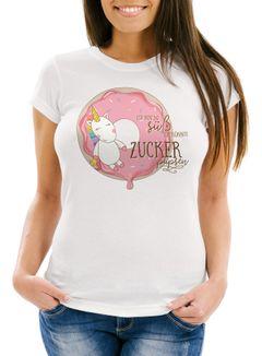 süßes Damen T-Shirt Einhorn auf Donut Ich bin so süß ich könnte Zucker pupsen Unicorn Spruch Slim Fit Moonworks®