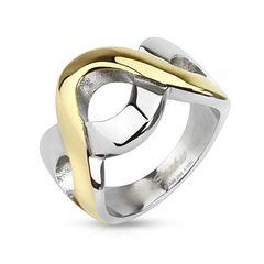Edelstahl Ring Damen Herren Wellen Bicolor Zweifarbig Silber Gold Bandring
