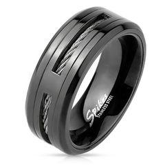 Edelstahl Ring Herren Stahlseil Wire Inlay schwarz black