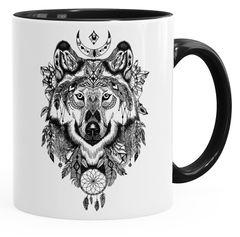 Kaffee-Tasse Wolf Atzekenmuster Boho Bohamian Atzec Animal Ethno Autiga®