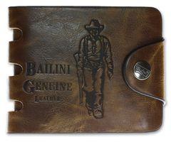 Leder Geldbeutel Geldbörse Portemonnaie Cowboy Bailini Edel Echt Luxus braun