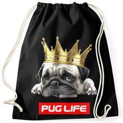 Turnbeutel Pug Life Mops mit Krone Hipster Beutel Tasche Sportbeutel Gymsac Gymbag Moonworks®
