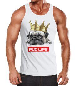 Herren Tank-Top Pug Life Mops mit Krone Muskelshirt Muscle Shirt Achselshirt Moonworks®