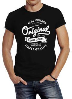 cooles Herren T-Shirt Original Denim Goods Vintage Druck Original Slim Fit Neverless®