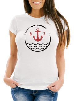 Damen T-Shirt mit Anker Vintage Motiv Slim Fit Neverless®