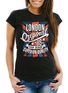 Damen T-Shirt London Vintage England Großbritannien UK Flagge Slim Fit Neverless®