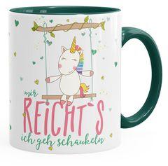 Kaffee-Tasse Einhorn Mir reichts ich geh schaukeln Spruch Unicorn Tasse mit farbigem Henkel MoonWorks®