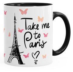 Kaffee-Tasse Take me to Paris Geschenk-Tasse für Frau Freundin Tasse mit Innenfarbe MoonWorks®