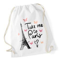Turnbeutel Take me to Paris Eiffelturm Hipster Beutel Tasche Jutebeutel Gymsac Autiga®