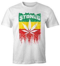 Herren T-Shirt Stoned Weed Gras Marihuana Blatt XXL Fun-Shirt Moonworks®