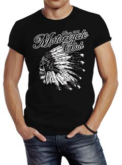 Herren T-Shirt Indianer Totenkopf Indian Skull Biker Motorrad Slim Fit Neverless®