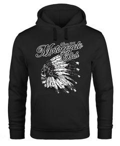 Hoodie Herren Indianer Totenkopf Indian Skull Biker Motorrad Kapuzen-Pullover Neverless®