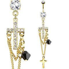 Bauchnabelpiercing - Kreuz an Ketten Anhänger Gold klar Strass Zirkonia Kristall
