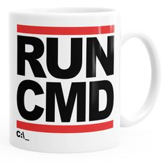 Kaffee-Tasse RUN CMD Nerd Geek Computer-Freak Tasse einfarbig MoonWorks®