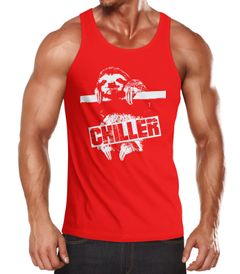 Herren Tanktop Faultier Born Chiller Sloth Muscle Shirt Moonworks®